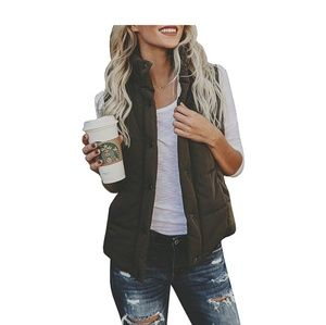 Jackets & Blazers - Coffee Brown Puffer Quilted Vest